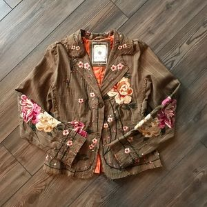 Paparazzi Embroidered Floral Plaid Blazer NWOT